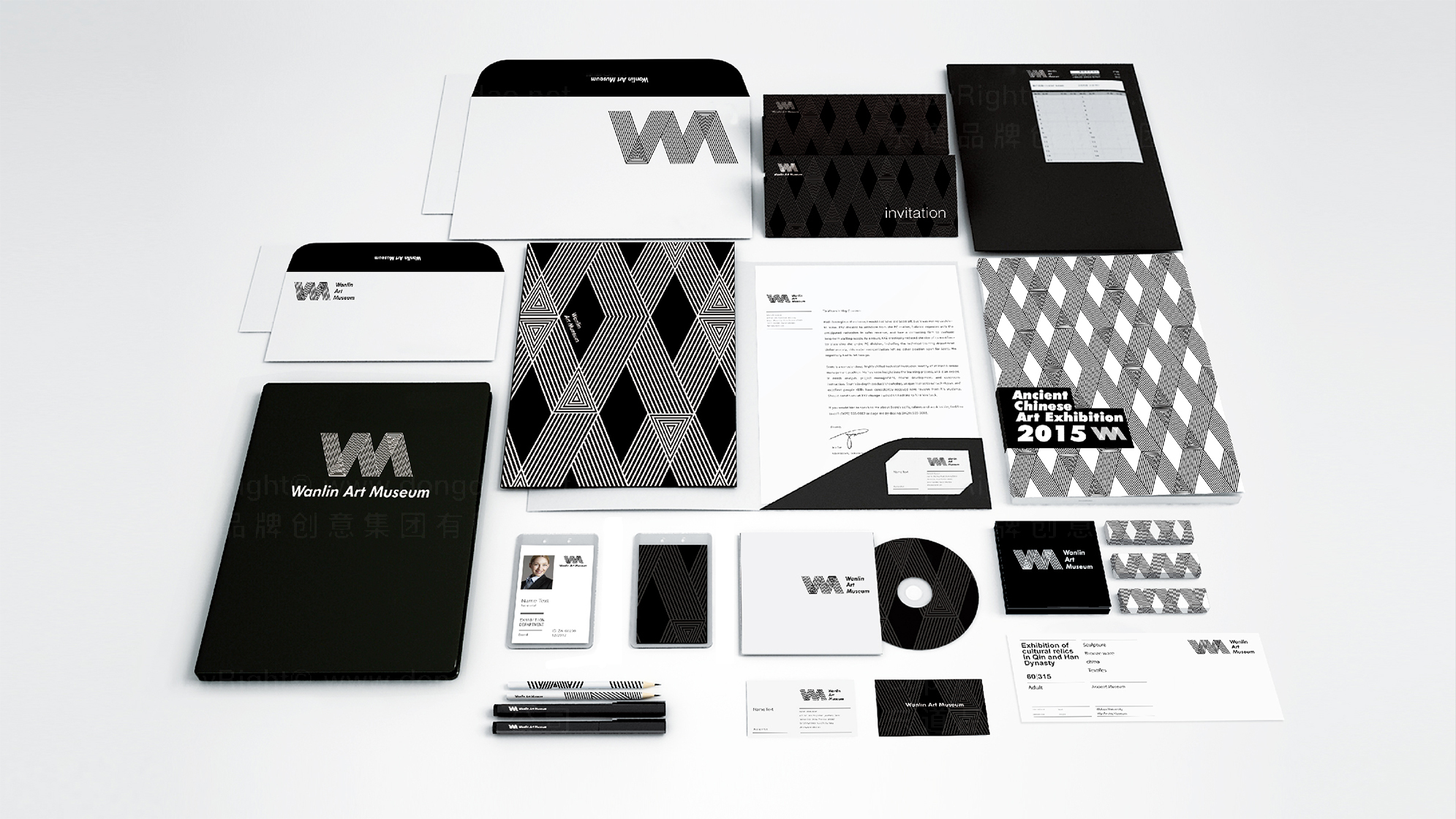 品牌设计武汉大学万林博物馆logo设计、vi设计应用场景